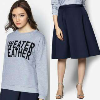 SALE 🆕Text Oversized Sweater Top except Midi Skirt [SOLD]