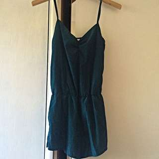 AMERICAN APPAREL EMERALD GREEN PLAYSUIT SIZE S