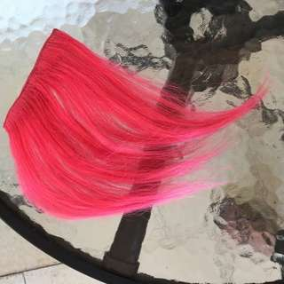 100% Human Hair Extension Fringe bangs Hot pink