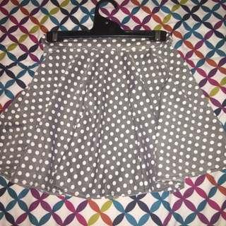 Polka Dot Skater Skirt Gray