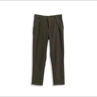 Queen Shop 造型口袋打褶斜紋西裝褲 綠 S