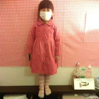 🚚 紅格紋襯衫風衣洋裝7號
