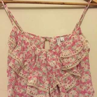 silk Floral Blouse Size 6