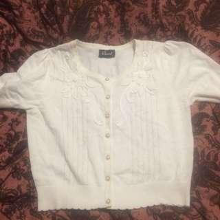Revival @ Dangerfield Crop Sweater Pearl Buttons