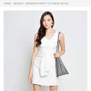 Front Tie Dress White