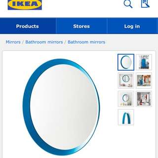 BLUE ROUND MIRROR- 'LANGESUND' FROM IKEA