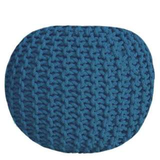 Royal Blue Knitted Round Ottoman
