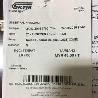 Selling KTM Train Ticket