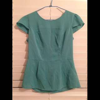 Green Peplum Top From Forcast