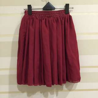 雙層雪紡短裙 酒紅色