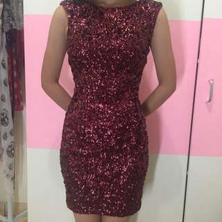 New Look, Sequin Bodycon Dress, Maroon, Size 8