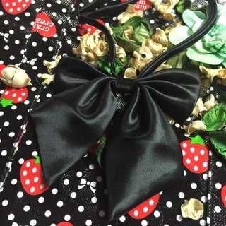 黑色大蝴蝶結領結 可調整長度 角色扮演 空姐 學生領結可愛配件