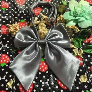 銀色大蝴蝶結領結 可調整長度 角色扮演 空姐 學生領結可愛配件