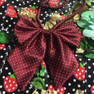 水玉小圓點點紅色蝴蝶結領結 可調整長度 角色扮演 空姐 學生領結可愛配件