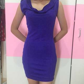 ZARA (Basic Evening Collection), Bodycon Dress (shoulder sequin patch), Purple, Size M.