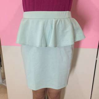 Forever 21, Peplum Skirt, Mint Color, Size L.