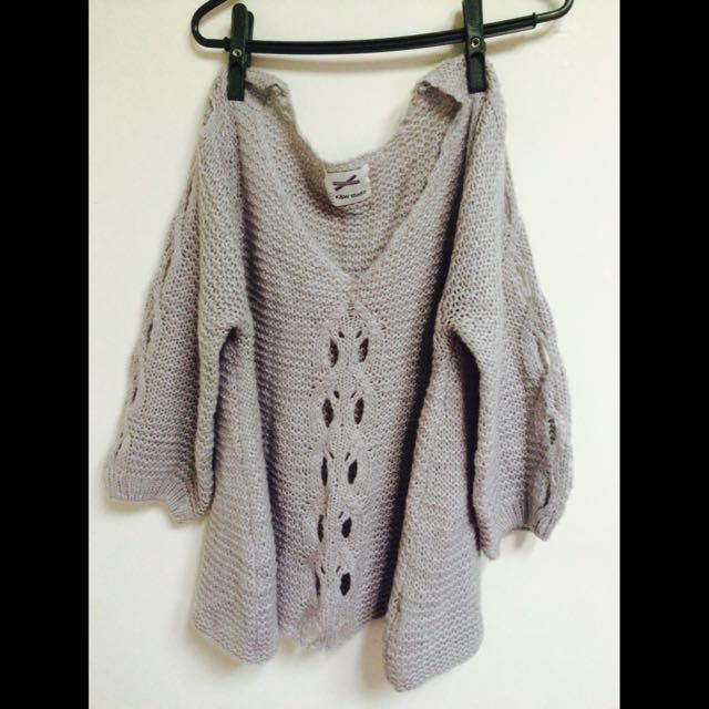 彭彭袖針織花紋灰毛衣