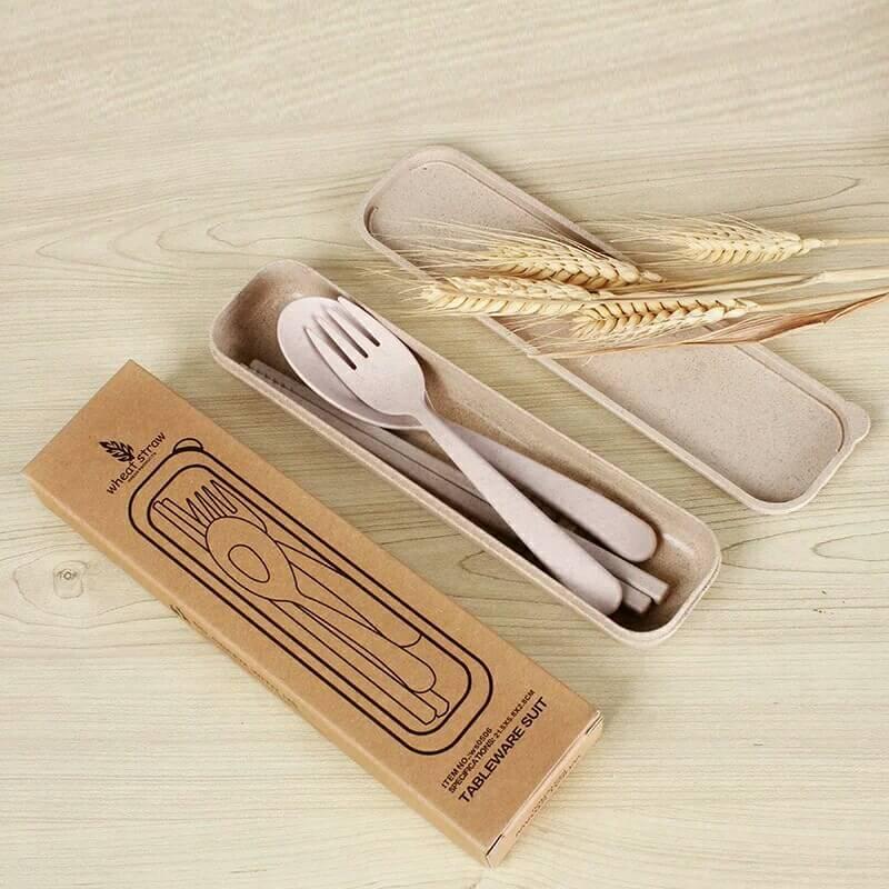 環保小麥桔梗餐具組