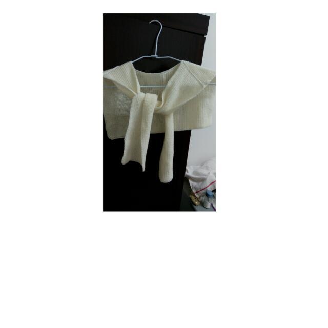針織綁帶小披風