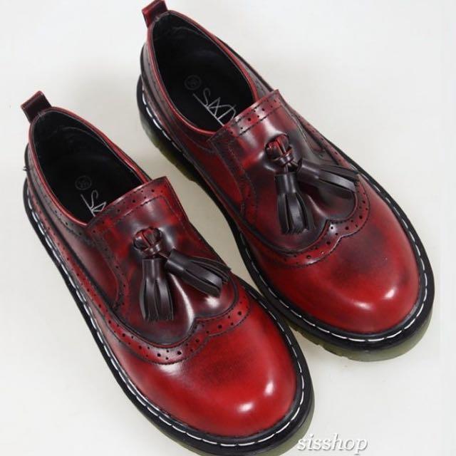 復古仿舊擦色流蘇雕花厚底低跟牛津鞋 24.5 酒紅色 馬丁 皮鞋 樂福鞋