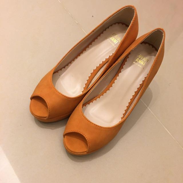 正韓 橘色粗跟鞋