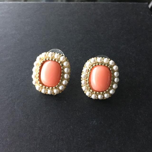 粉桔色 宮廷風 金珠 珍珠滾邊 耳環