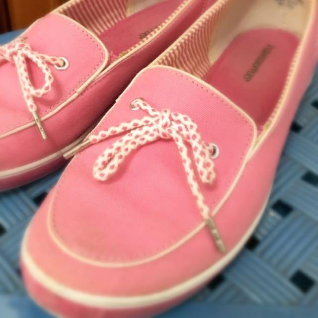 便鞋 懶人鞋 休閒鞋 平底鞋 粉紅色 6.5號 23.5號