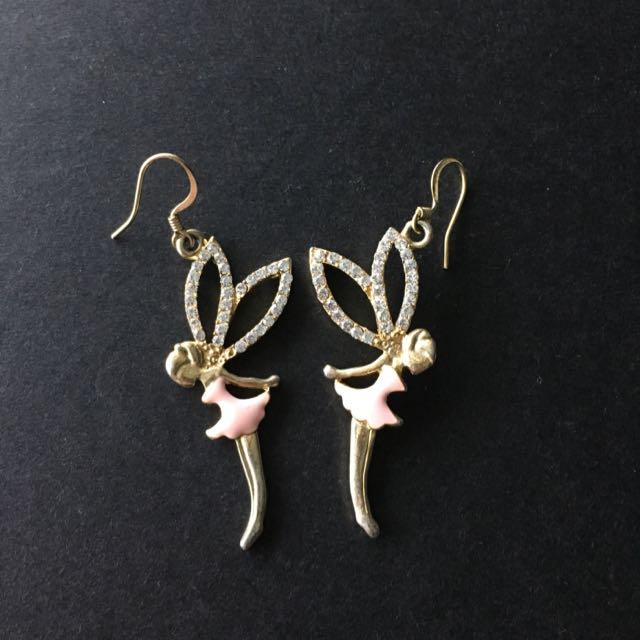 韓國飾品 粉色 小天使 水鑽 舞者芭蕾 耳環