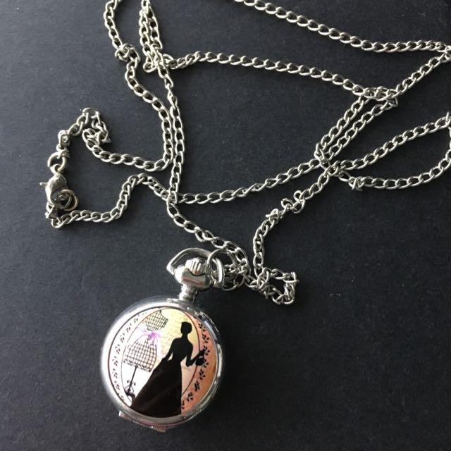 銀色 宮廷風 女仕 懷錶 小鏡子 毛衣 長 項鍊