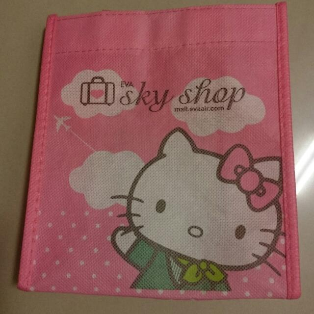 「長榮航空 EVA AIR」Hello Kitty 粉色小提袋 。