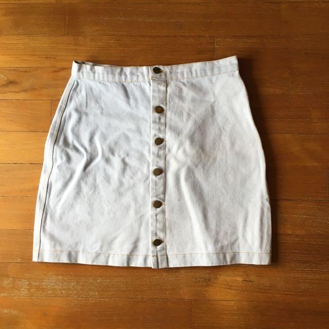 American Apparel Buttoned Denim Skirt
