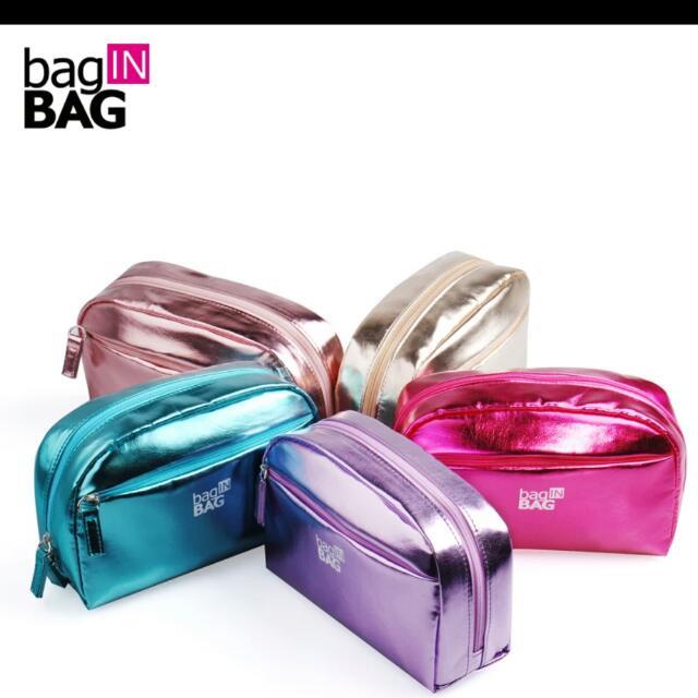 🌈韓國bag In bag 亮面包化妝包收納包(有分小和大)