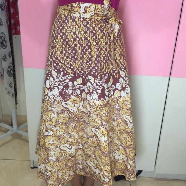 Batik Keris, Batik Skirt, Yellow-Brown, All Size.