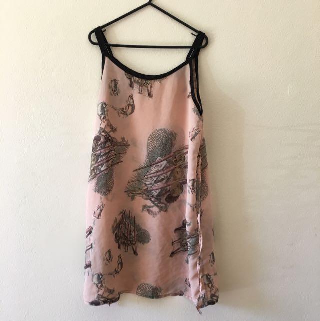 Beautiful Unique Printed Semi Sheer Breezy Dress