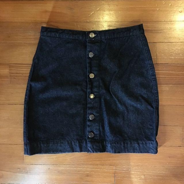 Black Buttoned Denim Skirt
