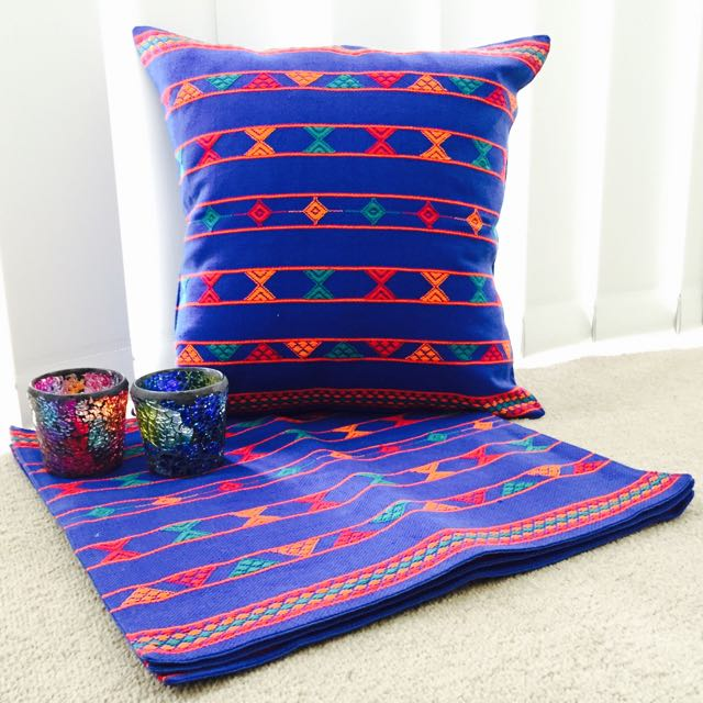 Blue Multicoloured HandWoven Threadwork Cushion Covers