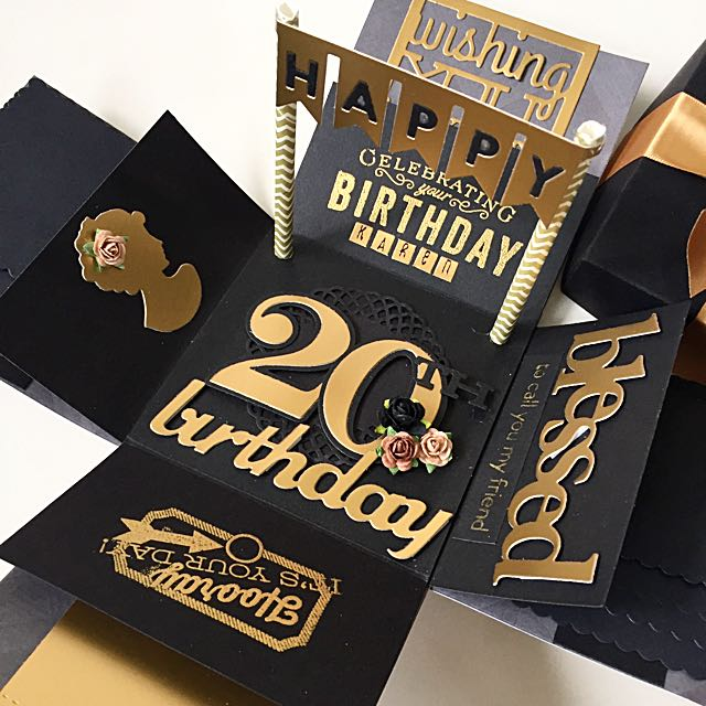 Happy 20th Birthday Explosion Box Card In Black And Gold