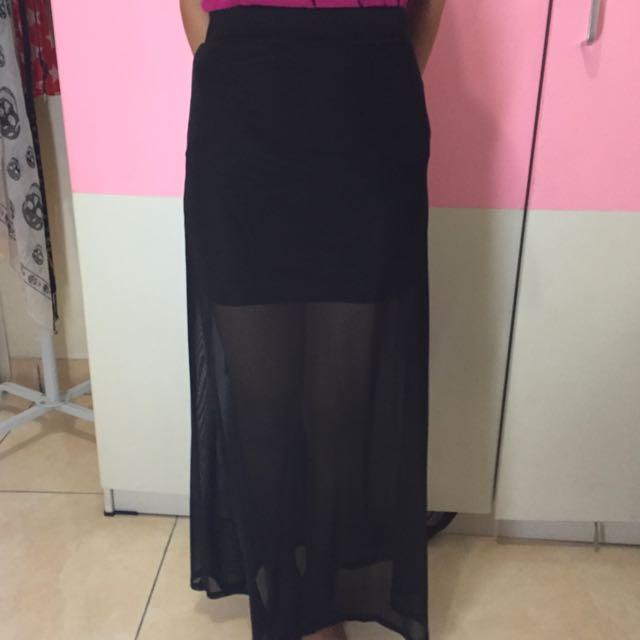 H&M, See Through Long Skirt, Black, Size XS.