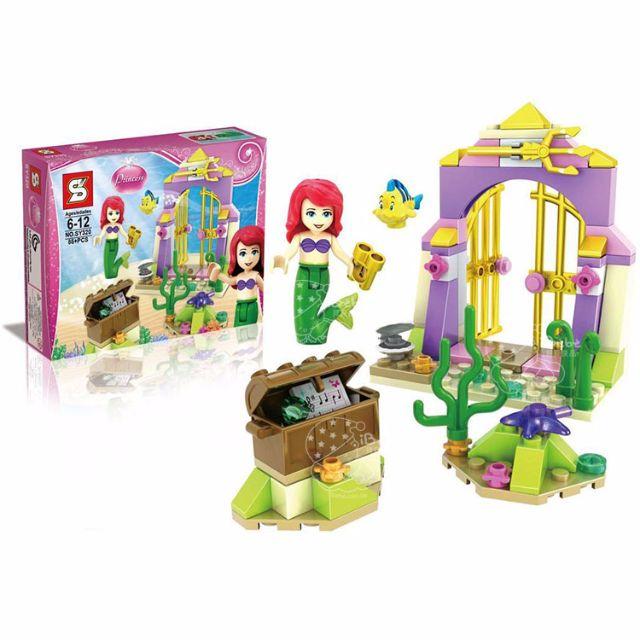 iBebe現貨$149 小美人魚 愛麗兒的神奇寶藏 85片積木/迪士尼公主系列/可相容樂高LEGO