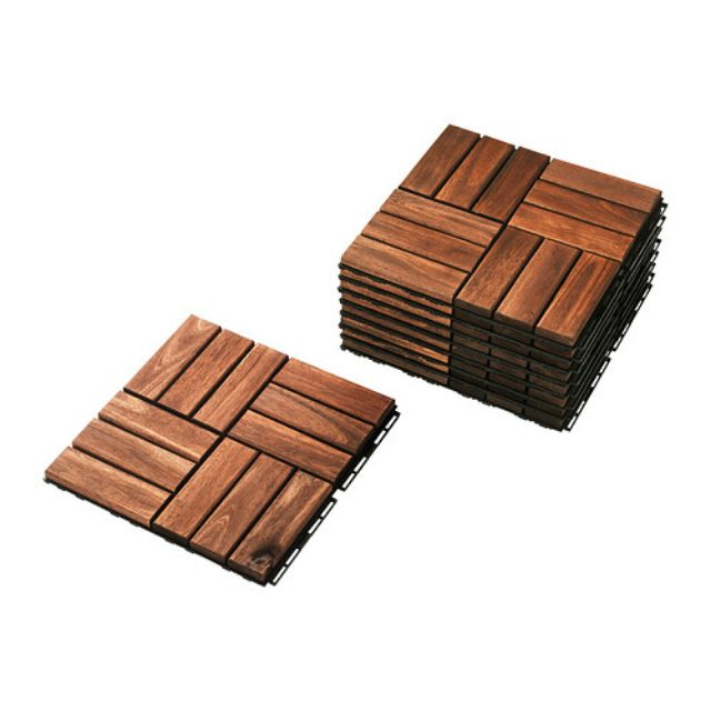 (徵)IKEA RUNNEN 戶外拼接地板 棕色