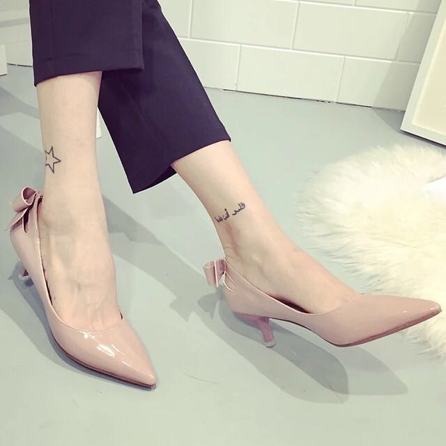 Low Heels With Bowknot (Pink One)