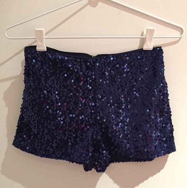 FOREVER 21 Navy Blue Sequined Shorts