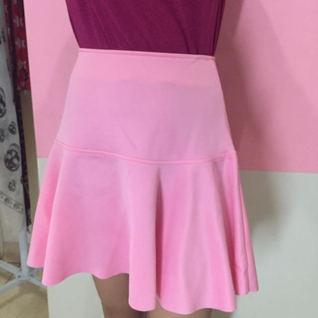 PANELLI, Ruffle Skirt, Soft Pink, Size S.