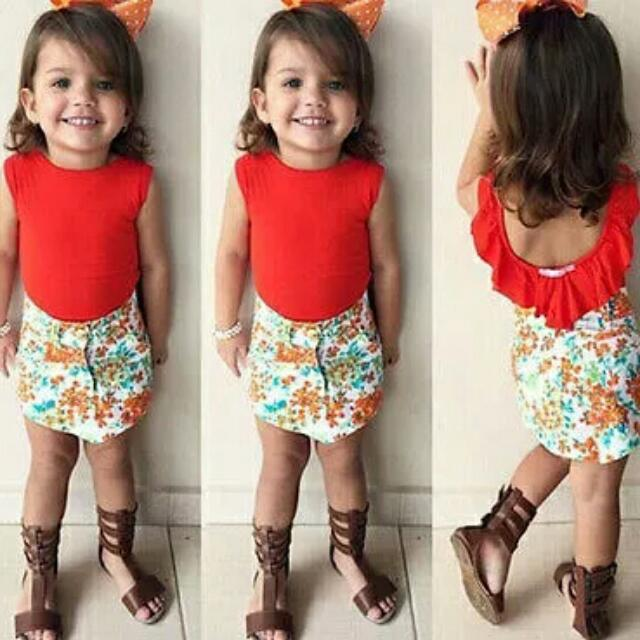 [PO] Red Top+Floral Skirt