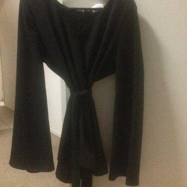 SEED Heritage Black Tie Up Bell Sleeve blouse