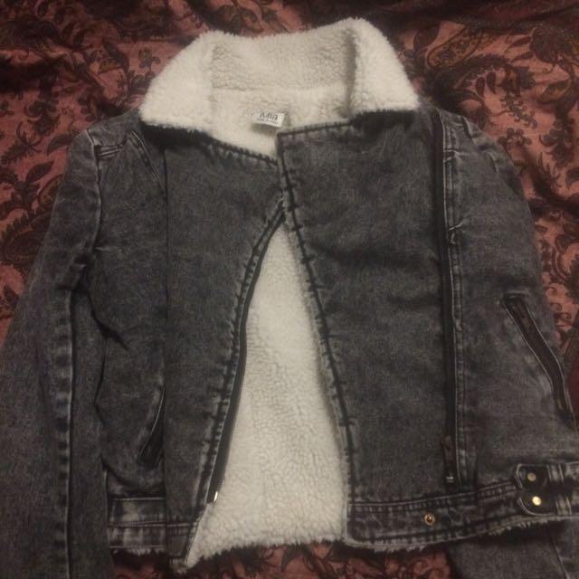 Shearling Denim Jacket Size Large Ladies