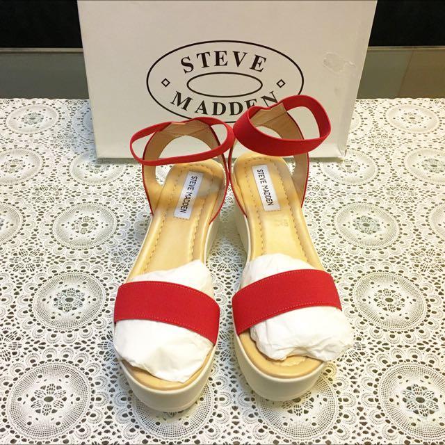 「出清」Steve Madden絕版 全新。義大利製厚底涼鞋。紅色