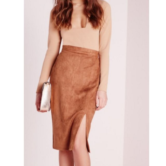 Tan Suede Midi Skirt