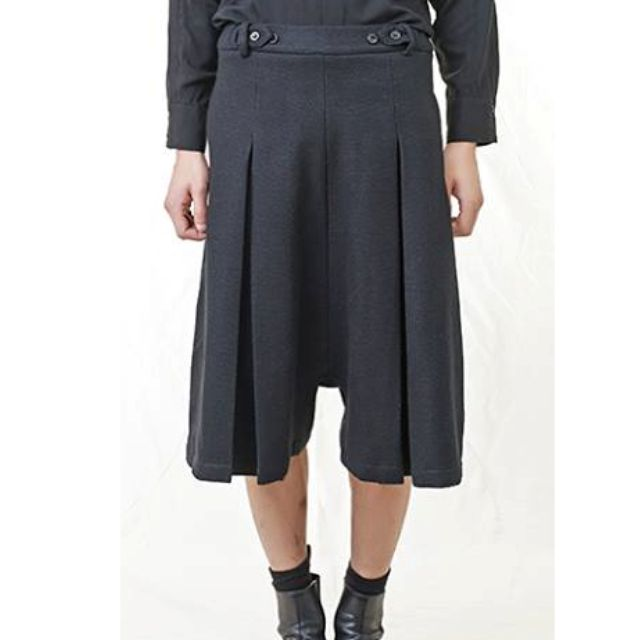 絕版TRAN毛料雙褶褲裙