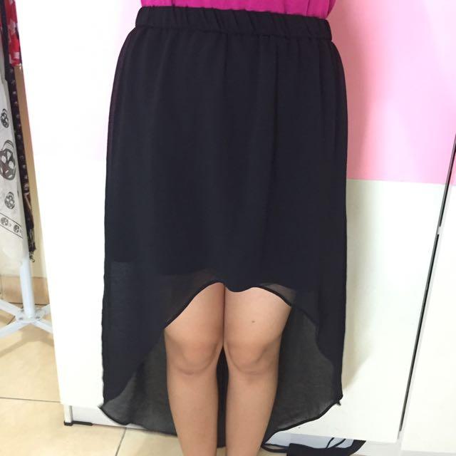 ZARA, High&Low Skirt, Black, Size S.